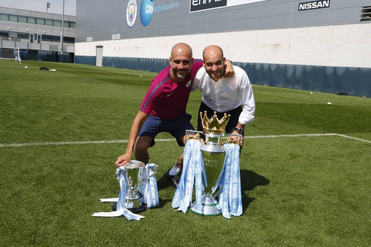 Pep Guardiola with his brother and agent, Pere Guardiola