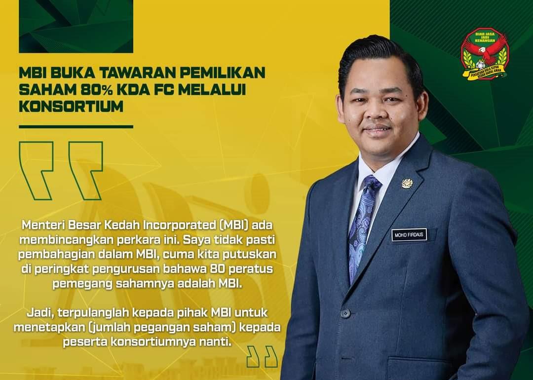 KFA Kedah Saham 80 peratus